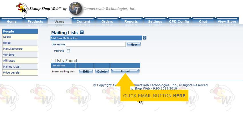 Users Tab > People Menu > Mailing Lists > E-mailing Members