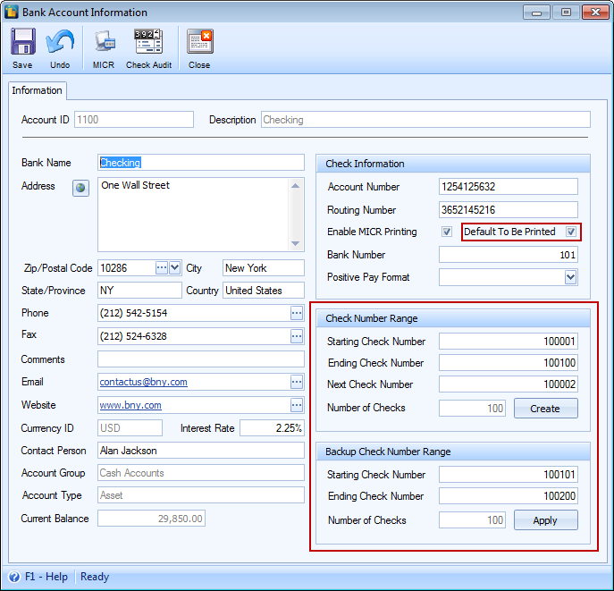 Assign Check Number after Printing – Accounting Form