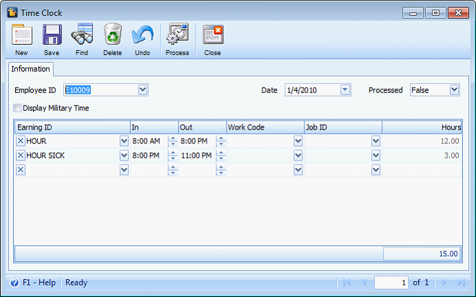 enable time clock hours calculation