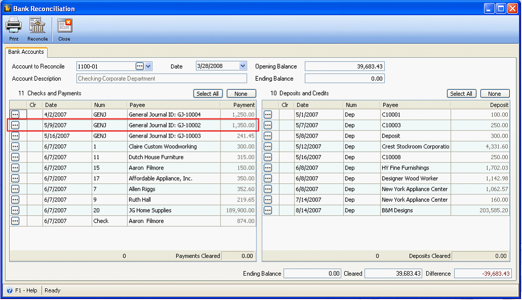 reconcileunreconcile transactions in bank account register