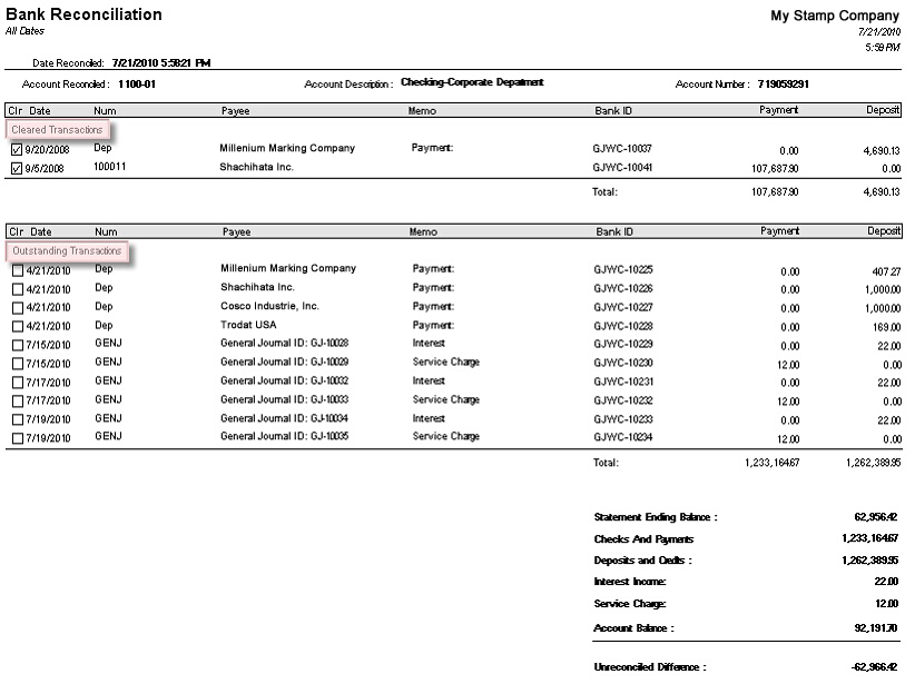 Bank Reconciliation Enhancement – Bank Reconciliation Form